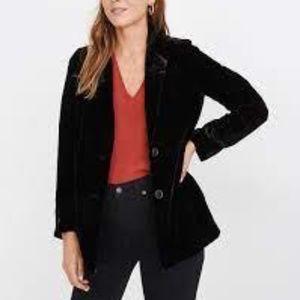 Madewell Dorset Black Velvet Overaized Blazer Sz M